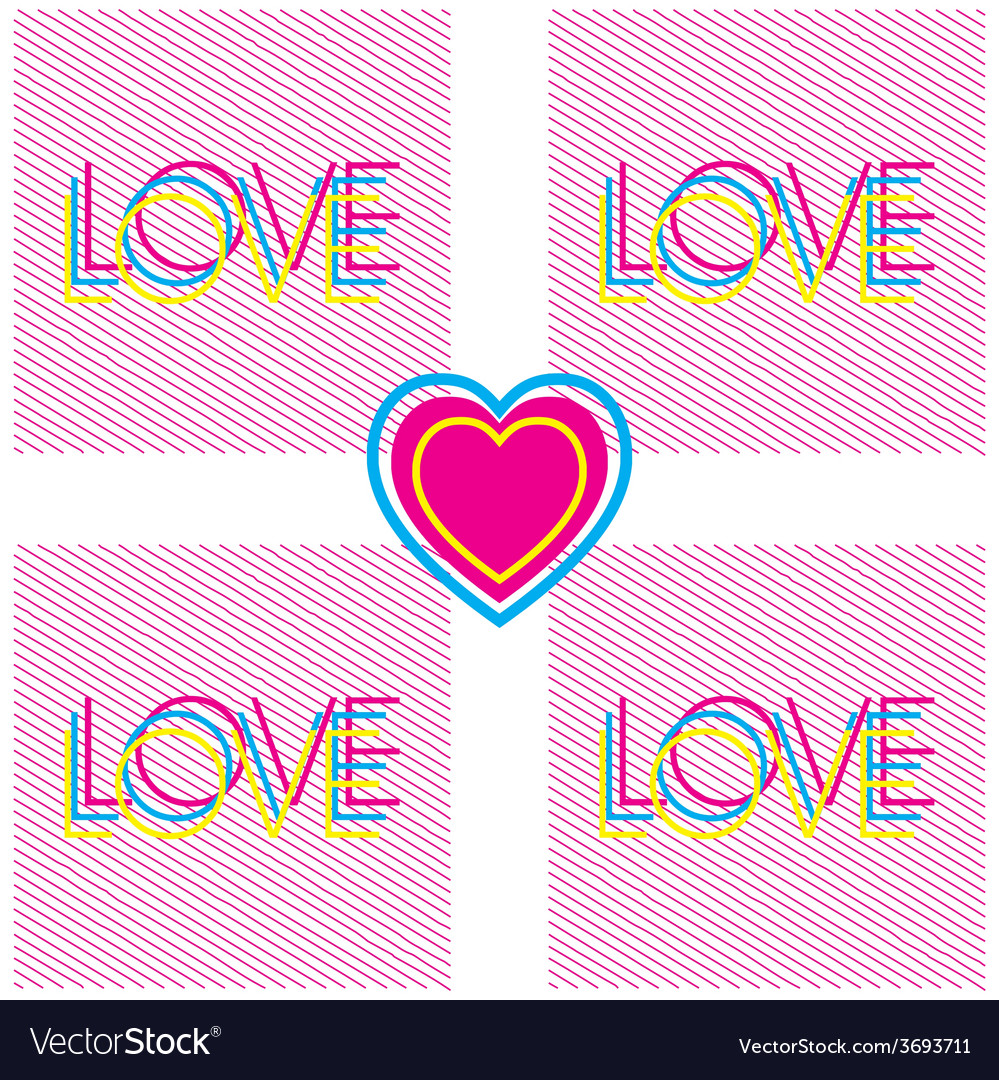 Love and heart modern poster vector | Price: 1 Credit (USD $1)