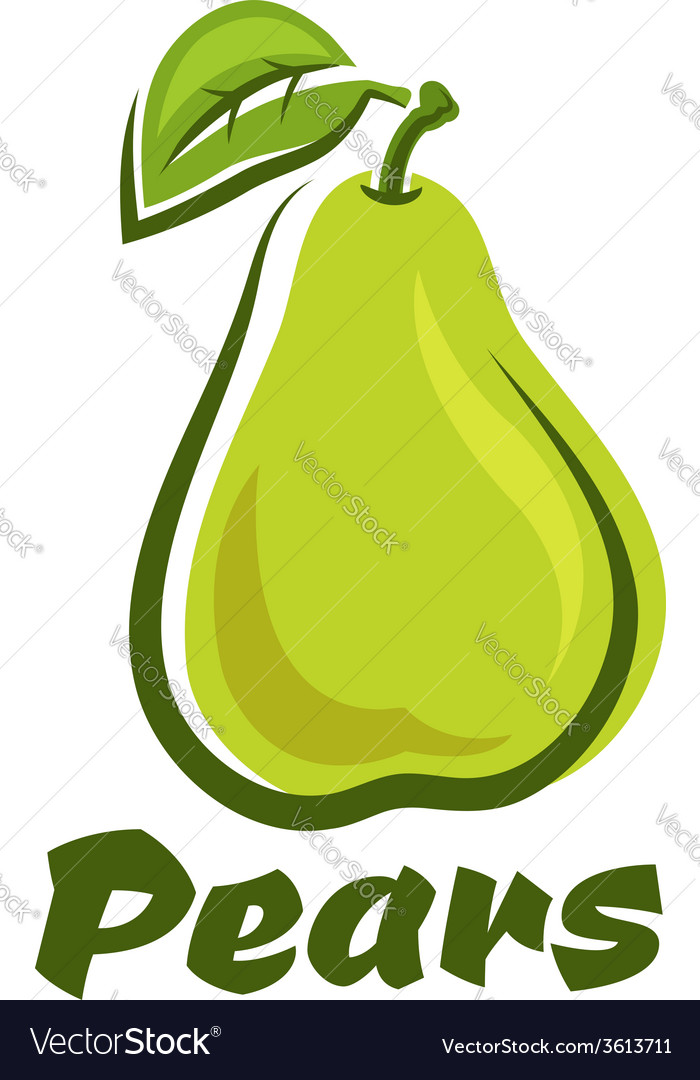 Pear fruit with leaf vector | Price: 1 Credit (USD $1)
