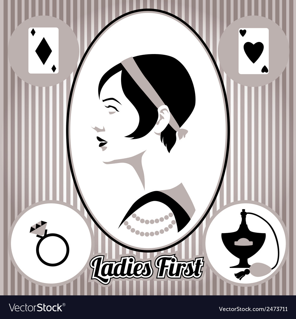 Retro lady face and accessories isolated vector | Price: 1 Credit (USD $1)