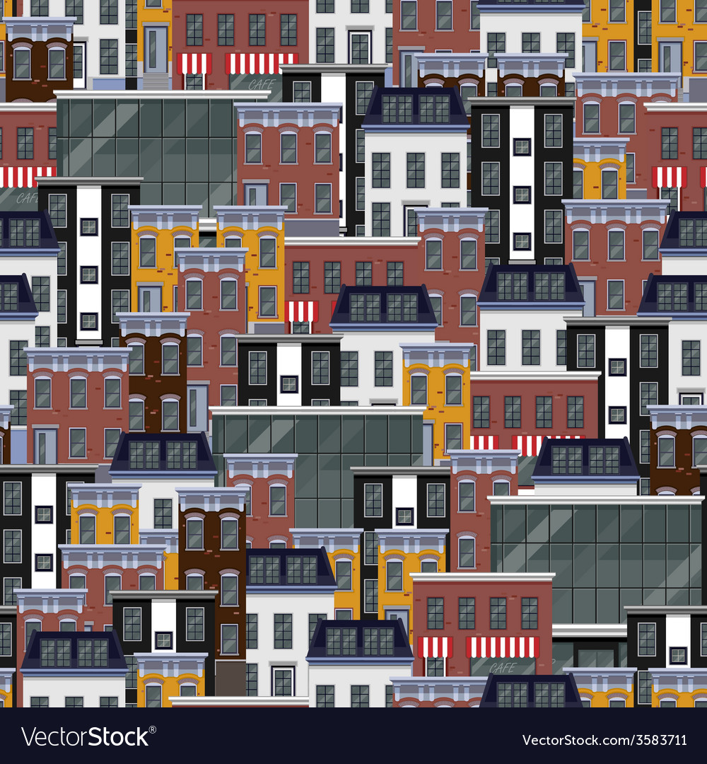 Seamless flat pattern with different city vector | Price: 1 Credit (USD $1)