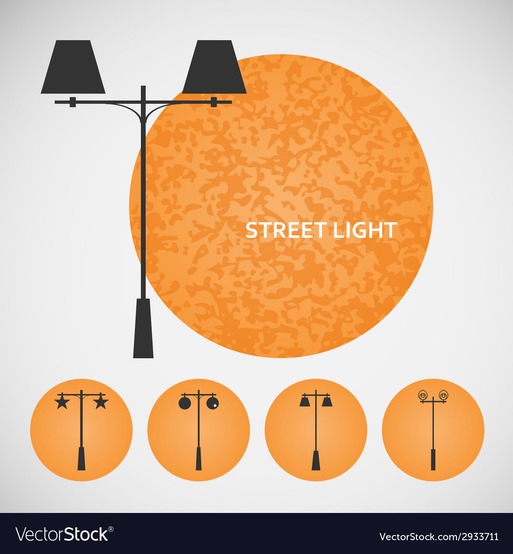 Set vintage street lights on colored backgrounds vector | Price: 1 Credit (USD $1)