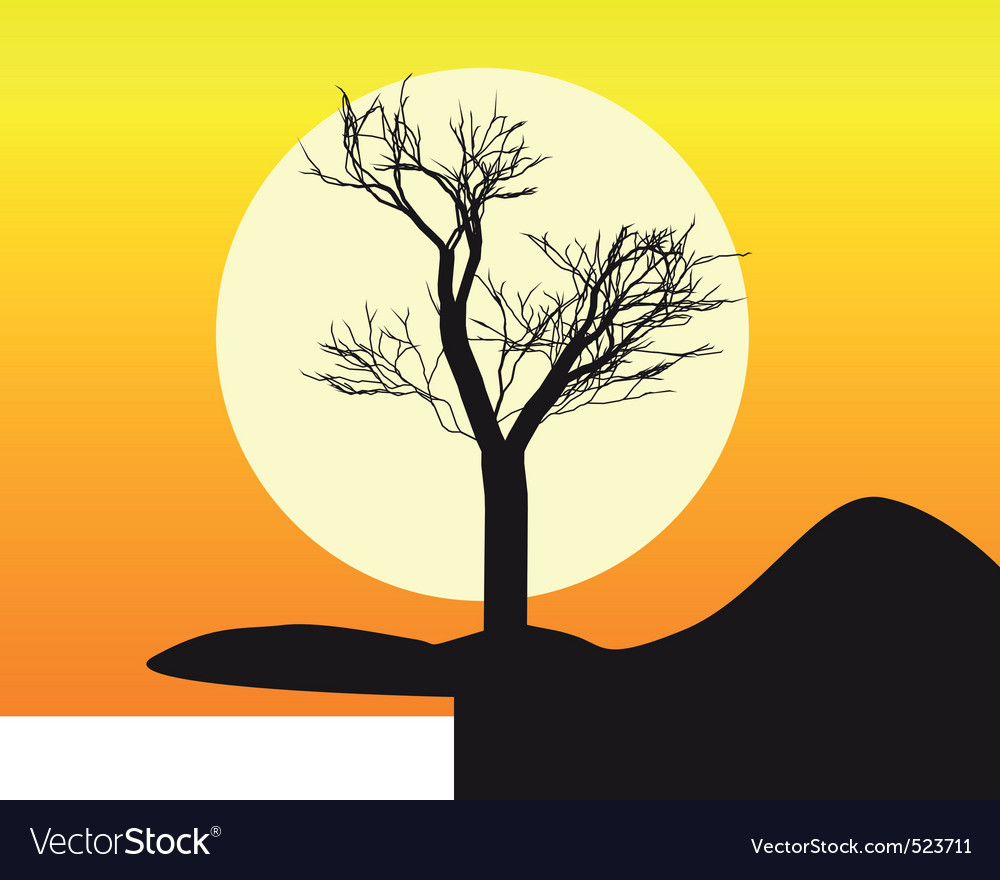 Silhouette of a tree vector | Price: 1 Credit (USD $1)
