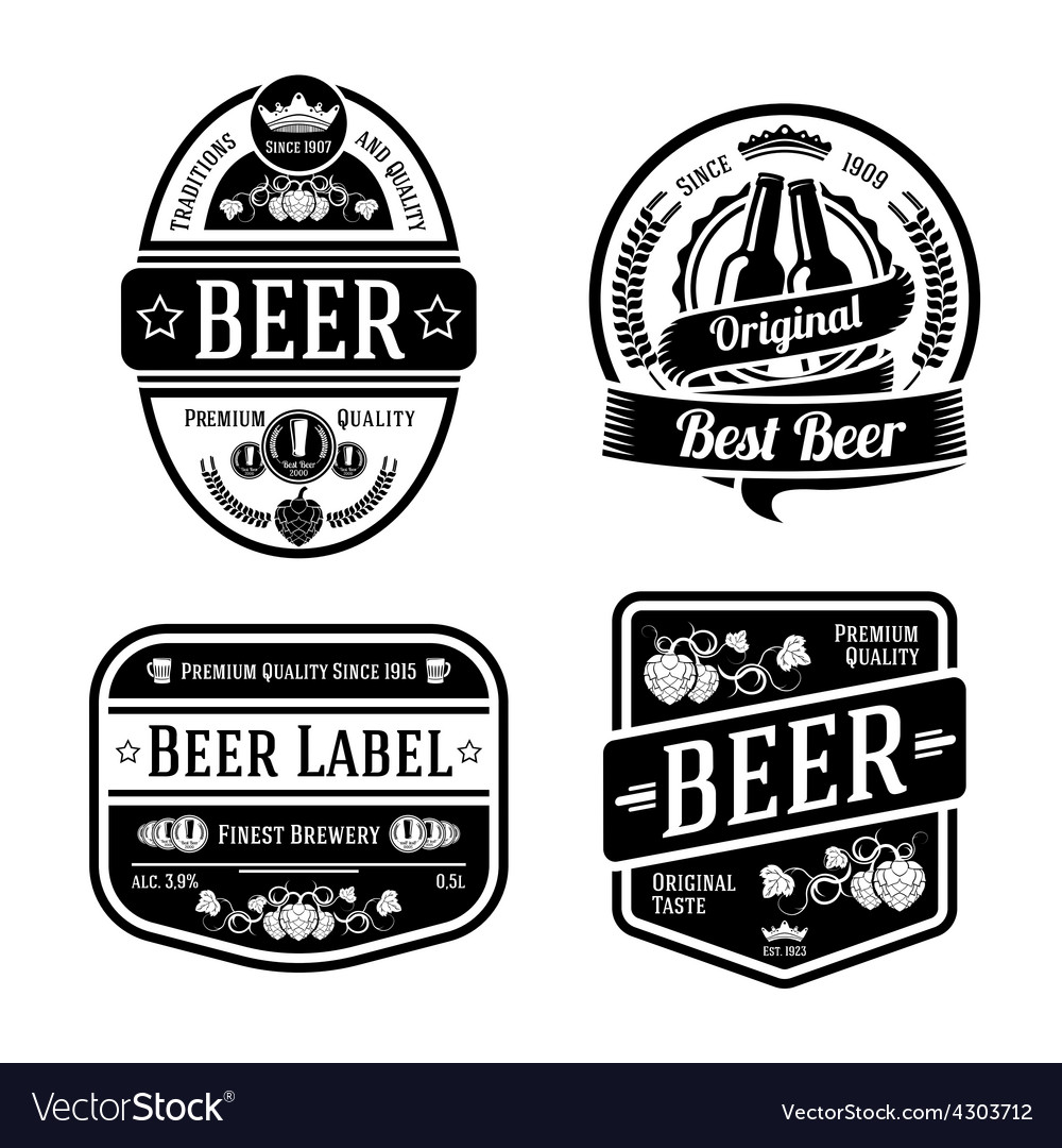 Black monochrome beer labels of different shapes vector | Price: 1 Credit (USD $1)