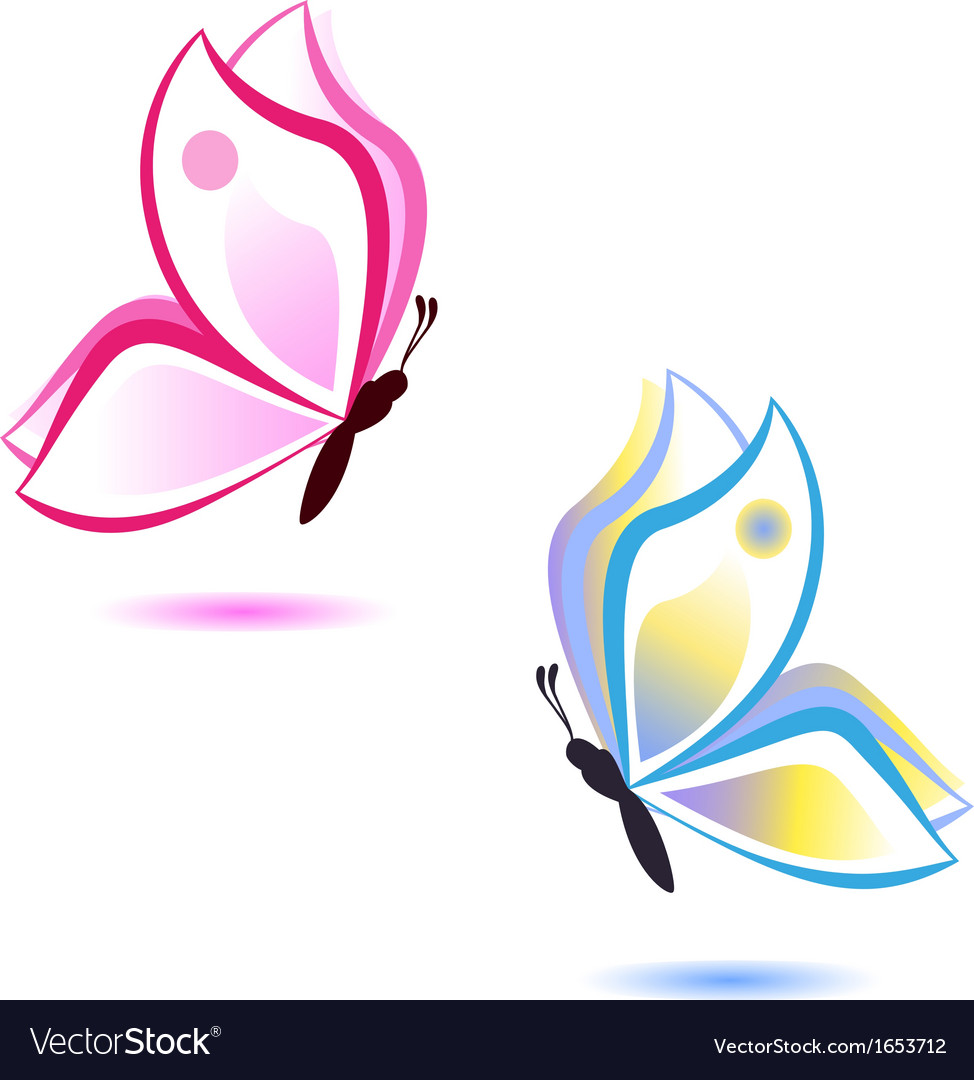 Butterfly beauty concept pink and blue vector | Price: 1 Credit (USD $1)