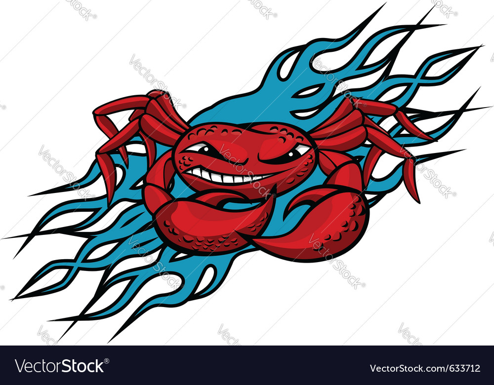 Cardinal crab with claws on blue flames for tattoo vector | Price: 1 Credit (USD $1)