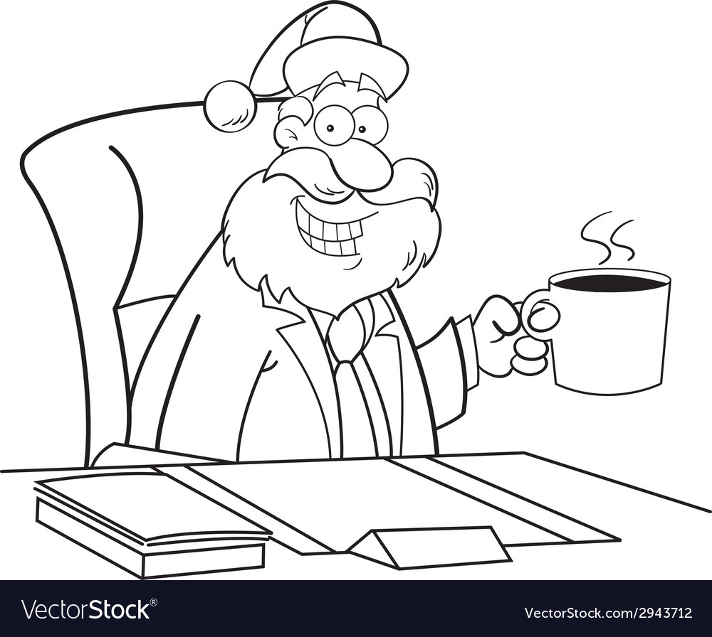 Cartoon santa claus sitting at a desk vector | Price: 1 Credit (USD $1)