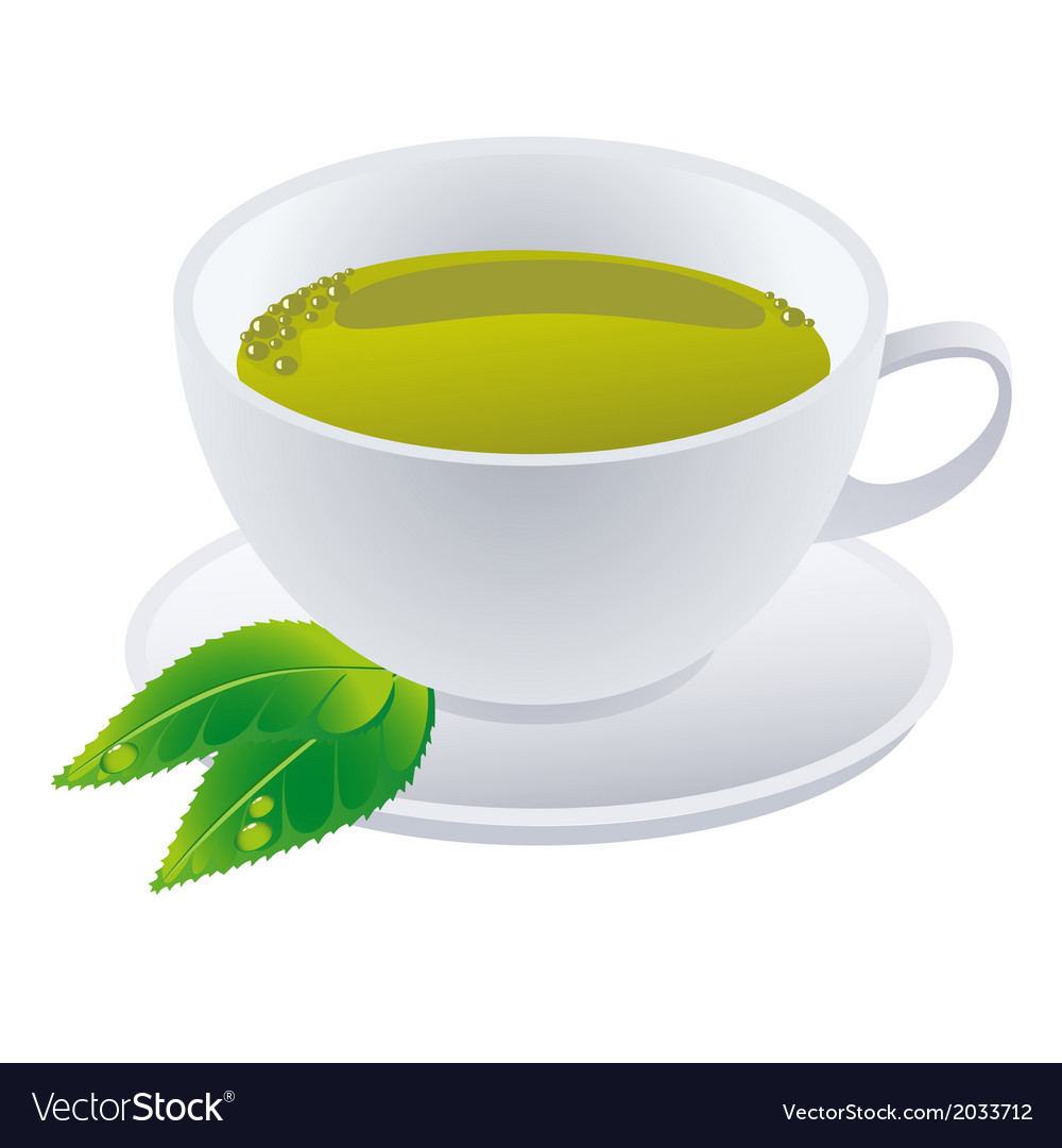 Cup of green tea with leafs vector | Price: 1 Credit (USD $1)