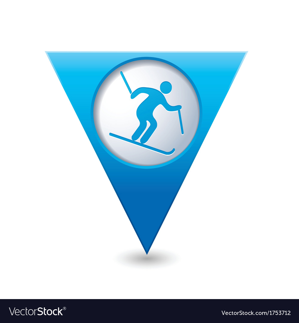Downhill skiing icon on blue triangular map vector | Price: 1 Credit (USD $1)