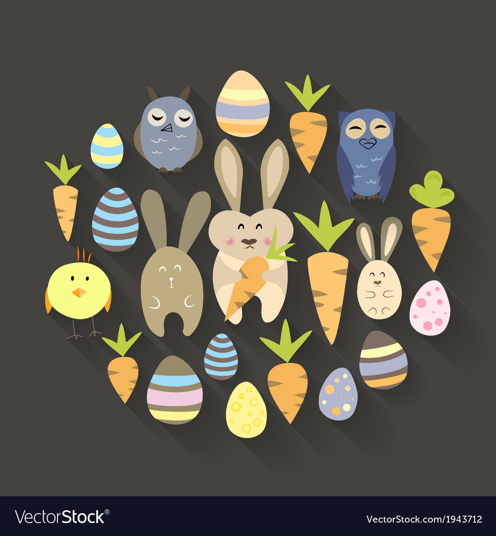 Easter eggs birds rabbits and carrots icons set vector | Price: 1 Credit (USD $1)