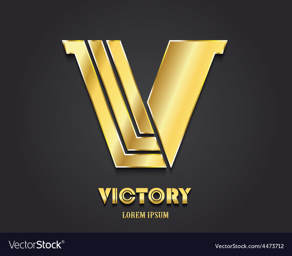 Golden letter v from alphabet symbol of victory vector | Price: 1 Credit (USD $1)