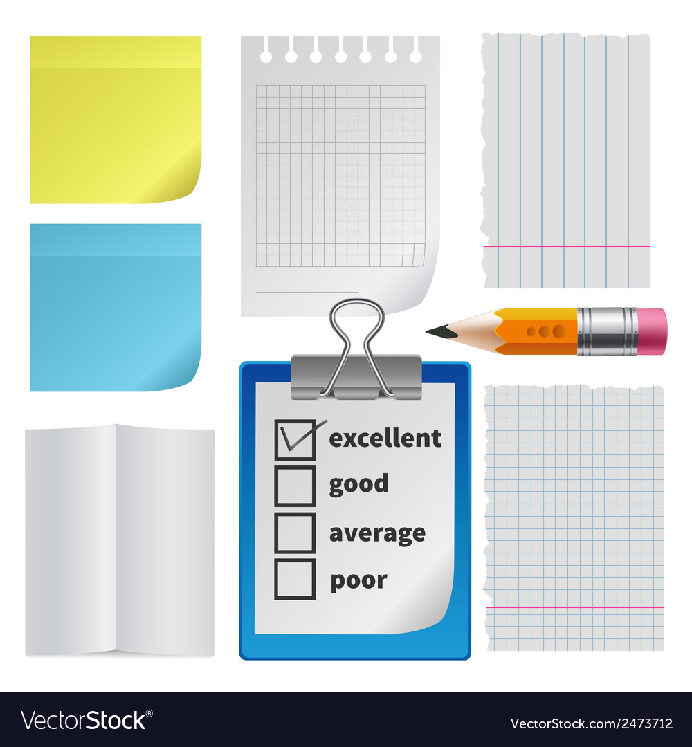 Note paper office set vector | Price: 1 Credit (USD $1)