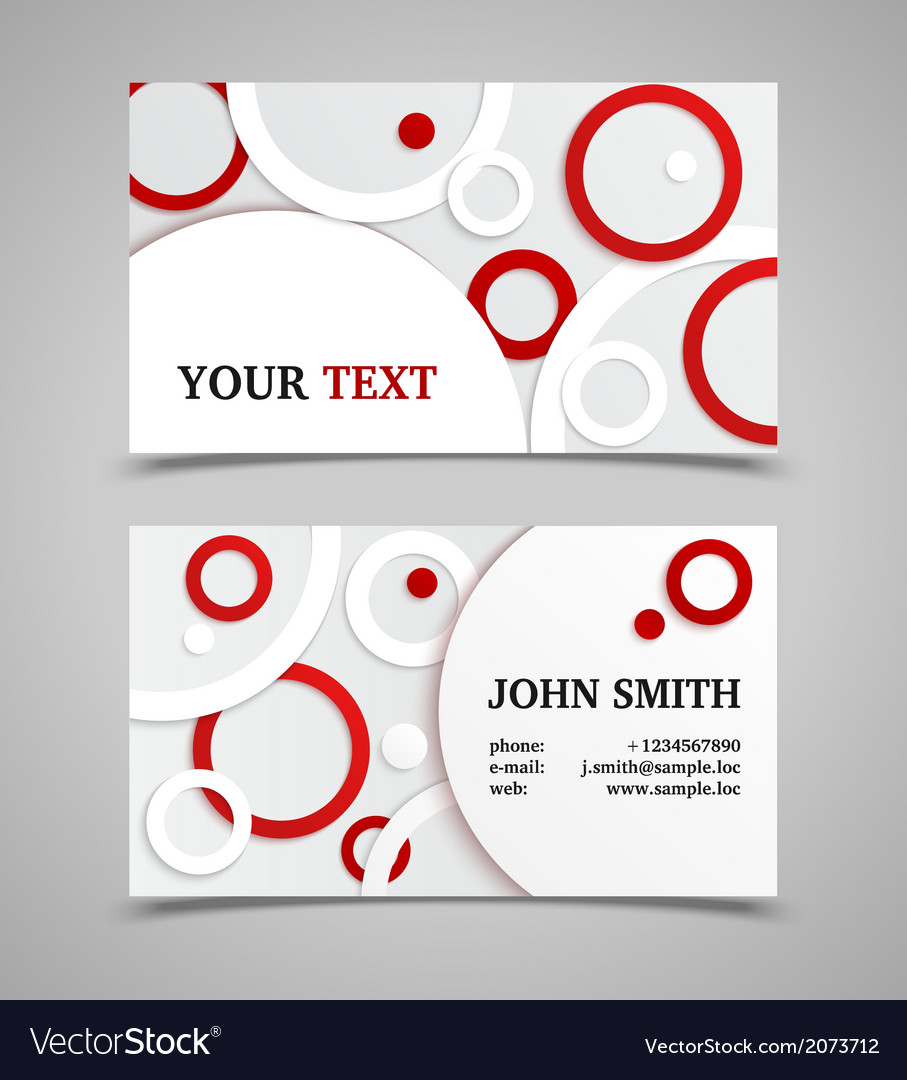 Red and white modern business card template vector | Price: 1 Credit (USD $1)