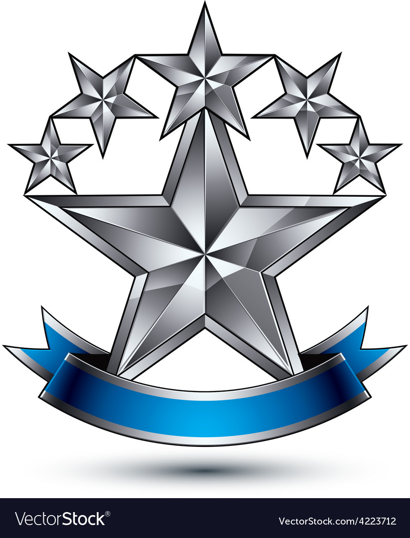 Renown silver star emblem with wavy ribbon 3d vector | Price: 1 Credit (USD $1)