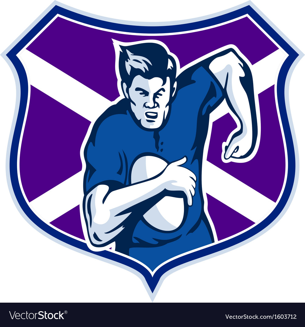 Rugby player flag and shield of scotland vector | Price: 1 Credit (USD $1)