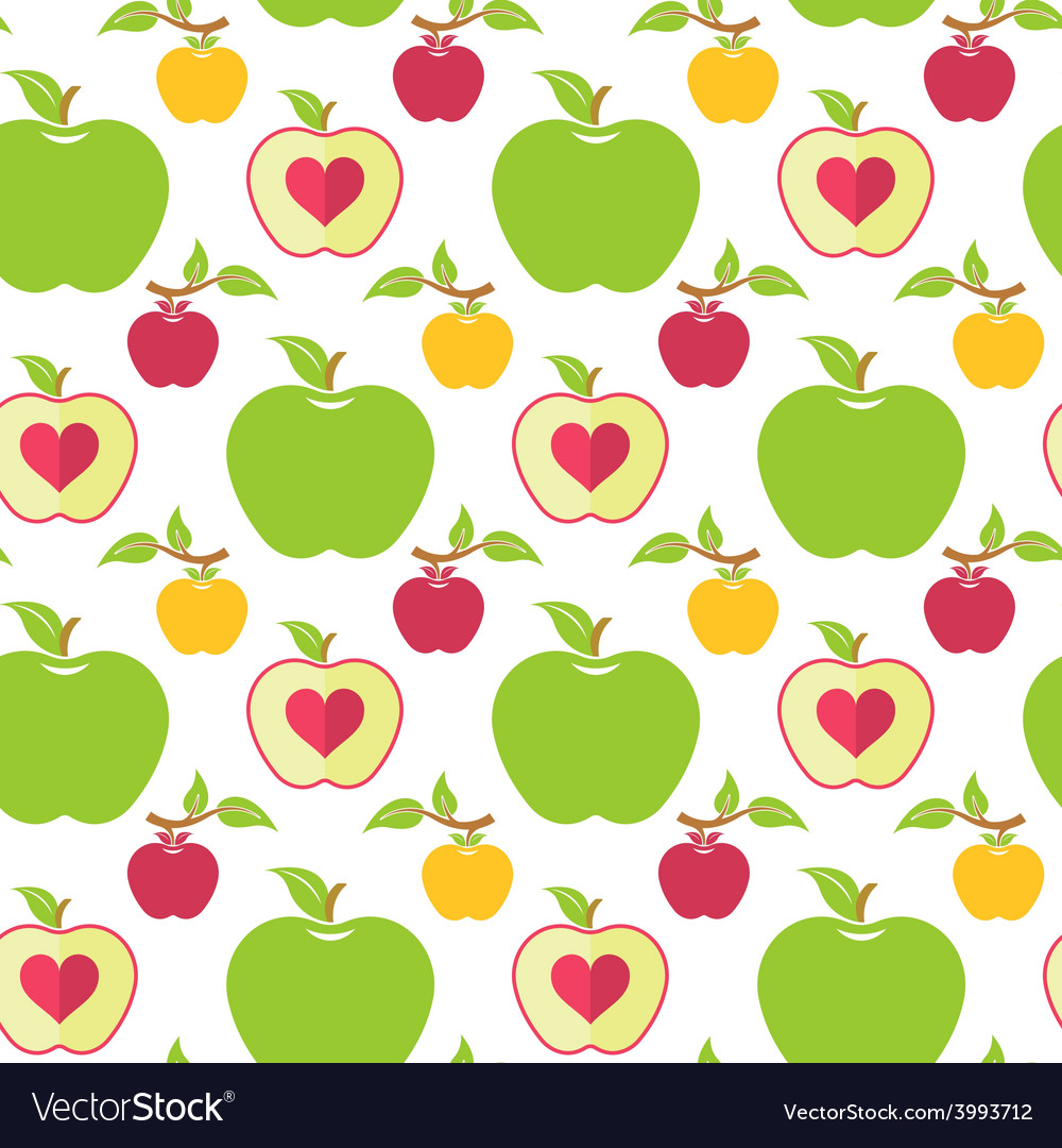 Seamless pattern with green red and yellow apples vector | Price: 1 Credit (USD $1)
