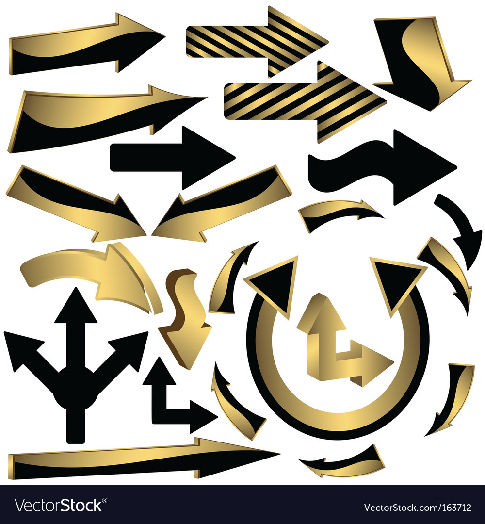 Set of gold and black arrow icons vector | Price: 1 Credit (USD $1)