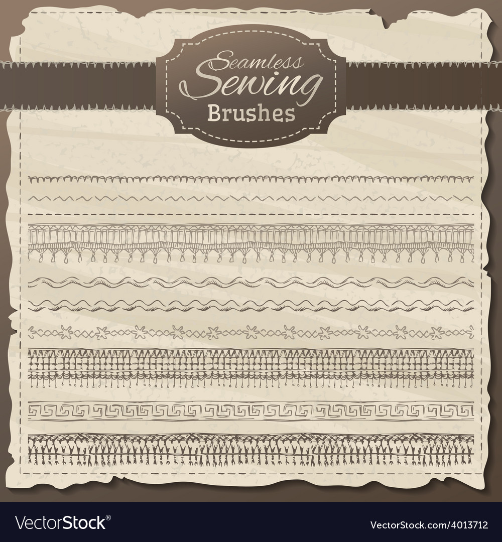 Set of seamless sewing borders vector   Price: 1 Credit (USD $1)