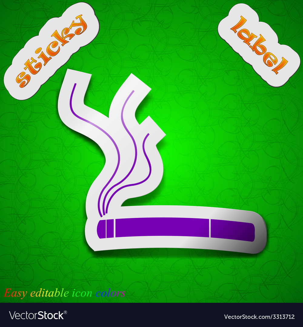 Smoking icon sign symbol chic colored sticky label vector | Price: 1 Credit (USD $1)