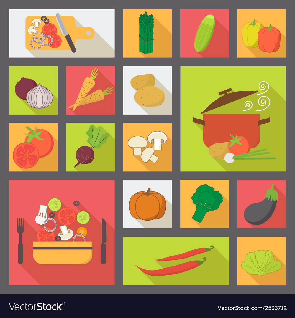 Vegetable icons food set for cooking restaurant vector | Price: 1 Credit (USD $1)