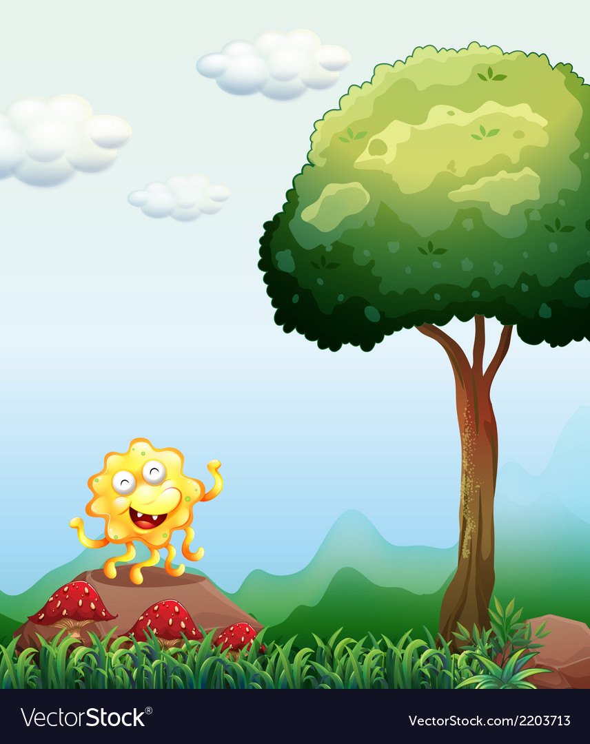 A happy monster above the rock near the mushrooms vector | Price: 1 Credit (USD $1)