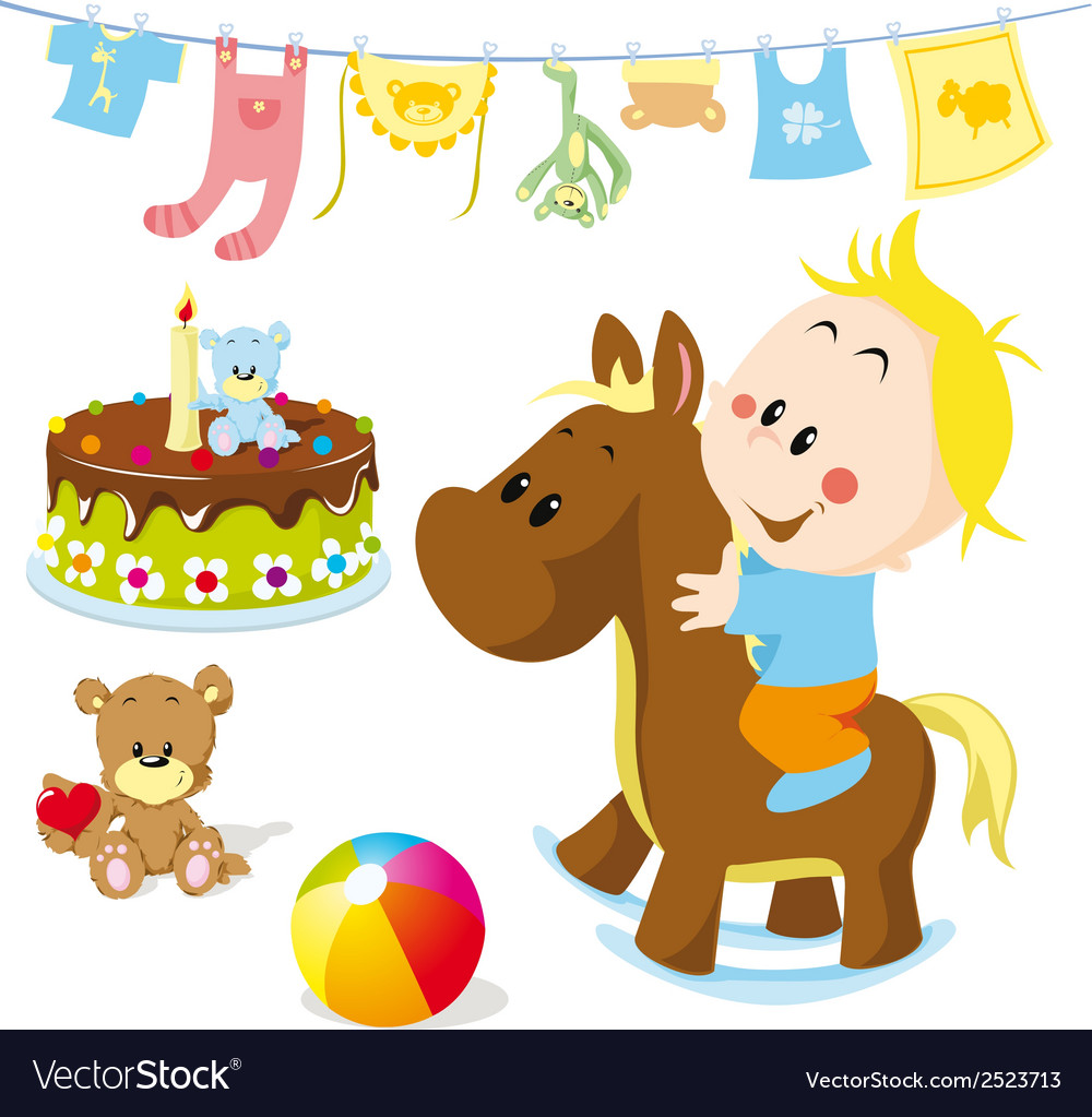 Baby on rocking horse vector | Price: 1 Credit (USD $1)