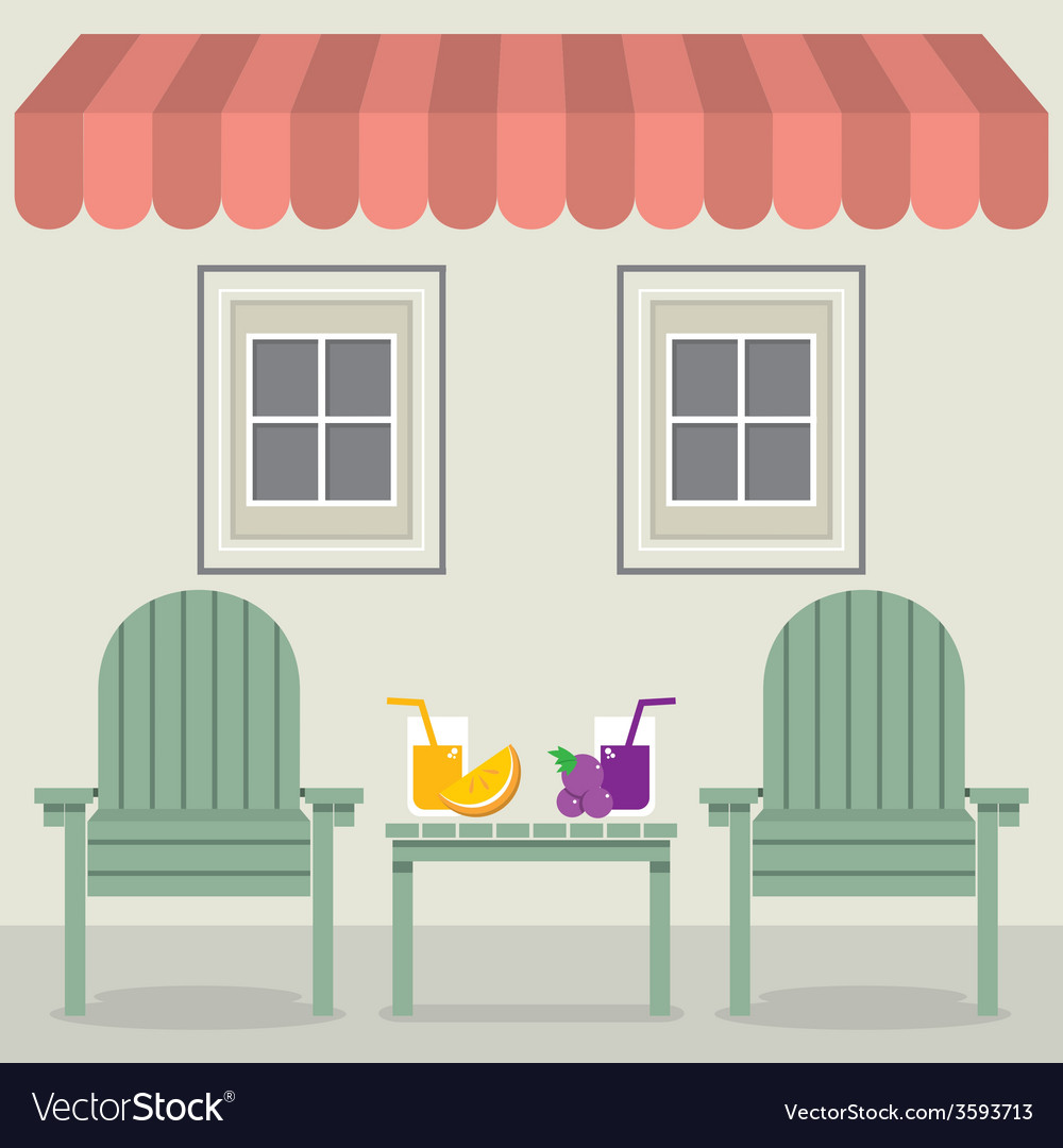 Chairs set with fruit juice under awning and vector   Price: 1 Credit (USD $1)