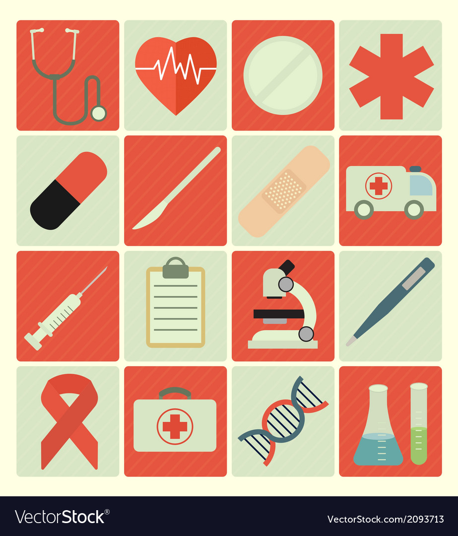 Flat icons medical vector | Price: 1 Credit (USD $1)
