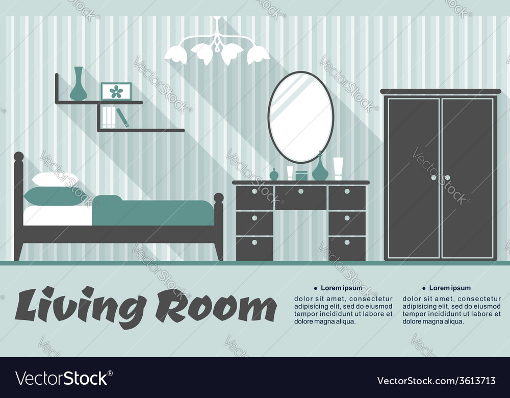 Flat living room interior vector | Price: 1 Credit (USD $1)