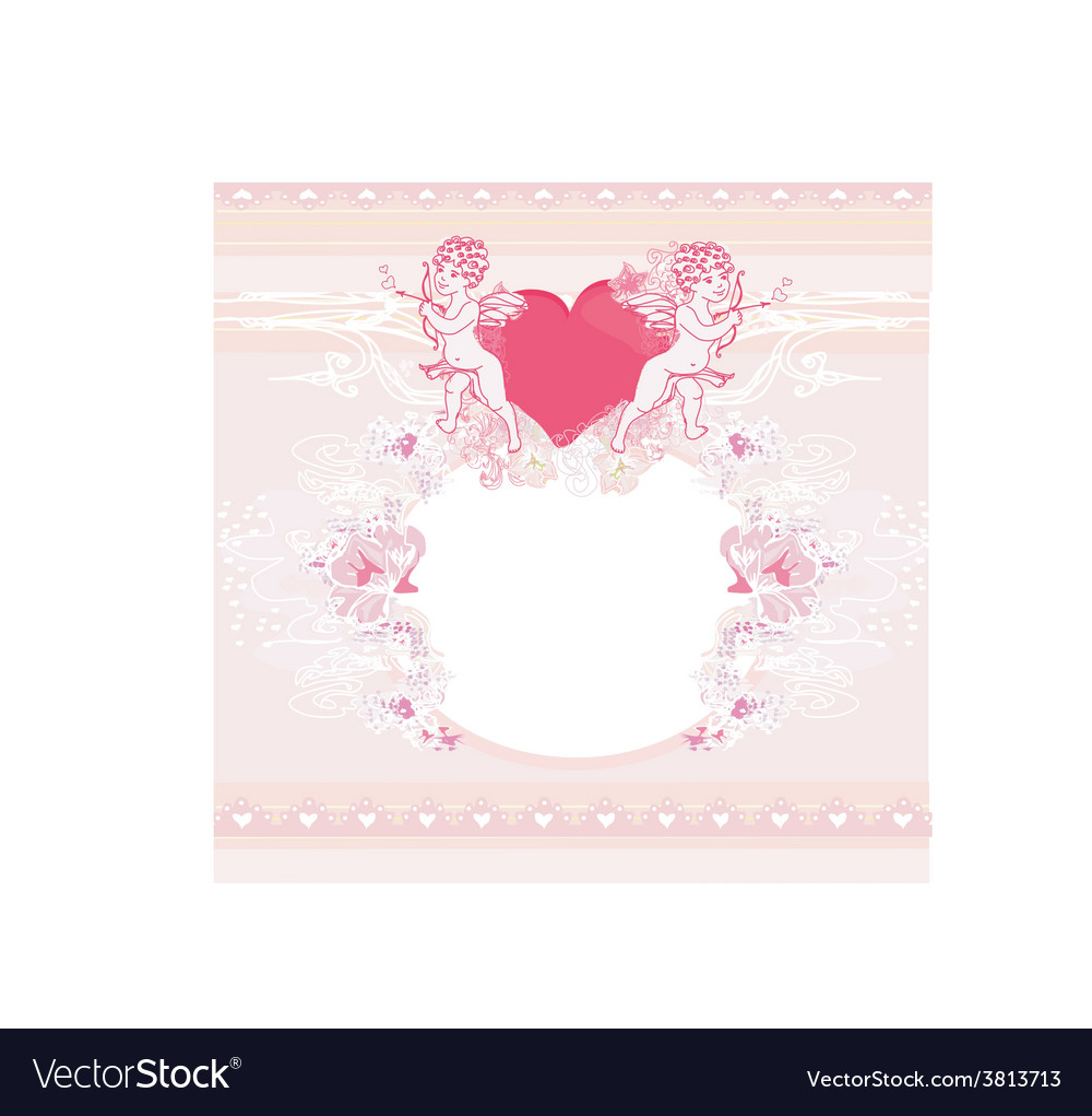 Happy valentines day vintage card with cupids and vector | Price: 1 Credit (USD $1)