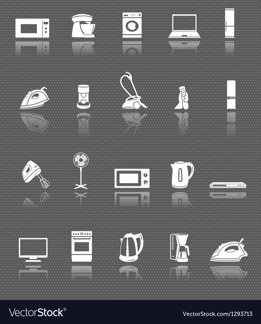 Home appliances and electronics web icons set vector | Price: 1 Credit (USD $1)