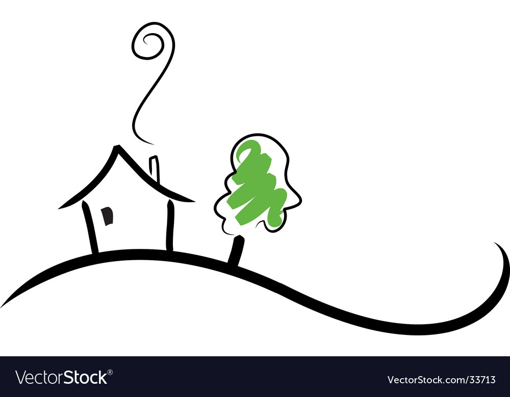 House on a hill vector | Price: 1 Credit (USD $1)