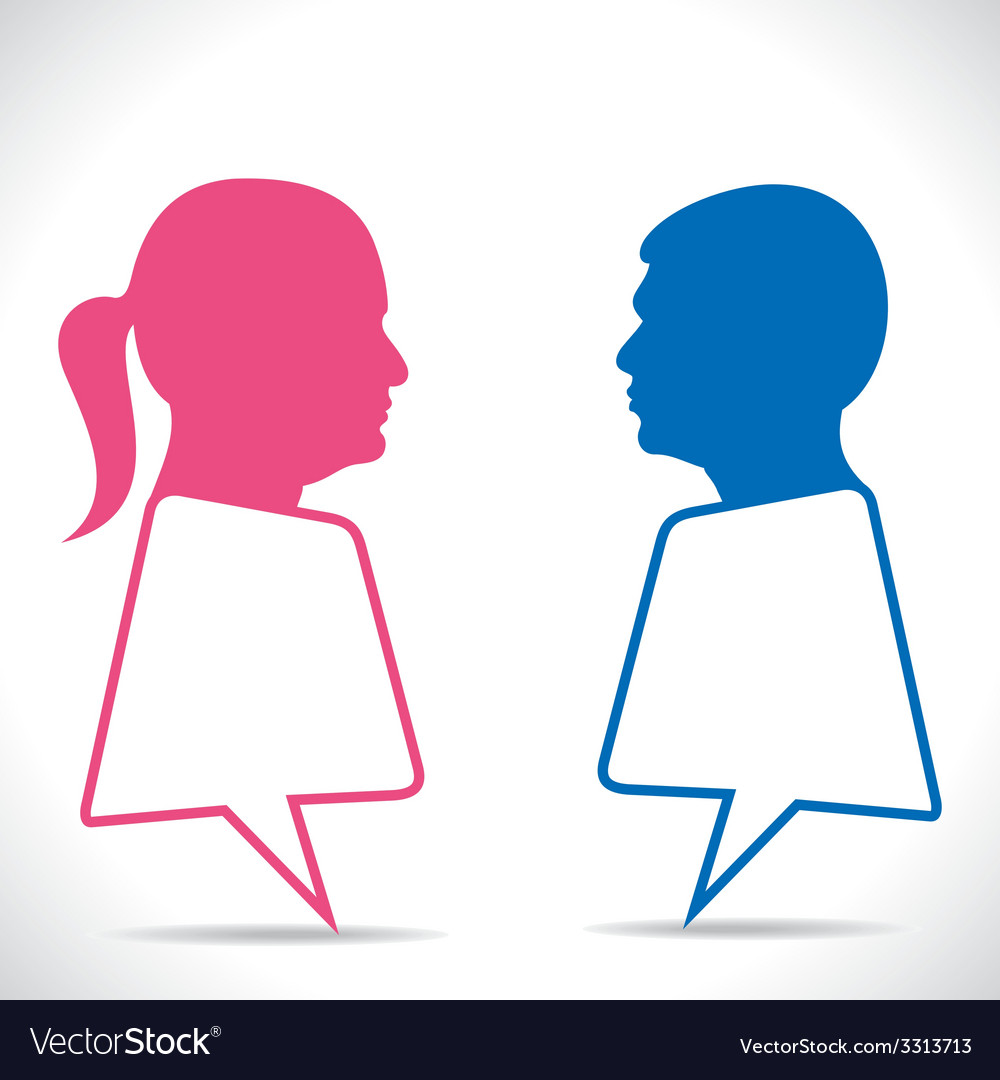 Pink women and blue men message bubble vector | Price: 1 Credit (USD $1)