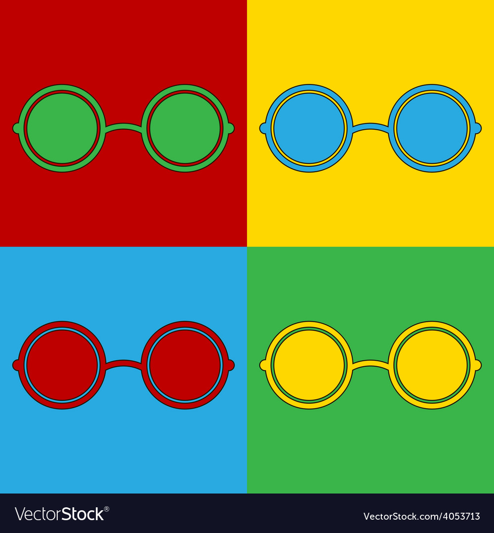 Pop art glasses icons vector | Price: 1 Credit (USD $1)