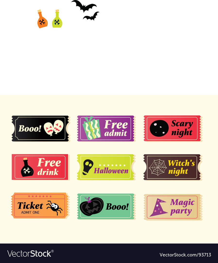 Retro halloween tickets vector | Price: 1 Credit (USD $1)
