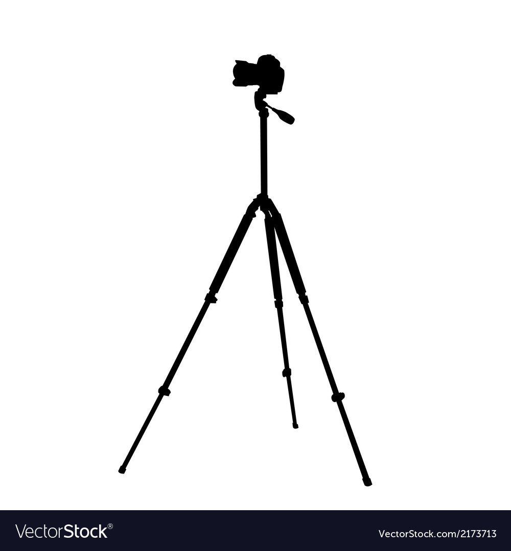Silhouette of the camera on a tripod vector | Price: 1 Credit (USD $1)