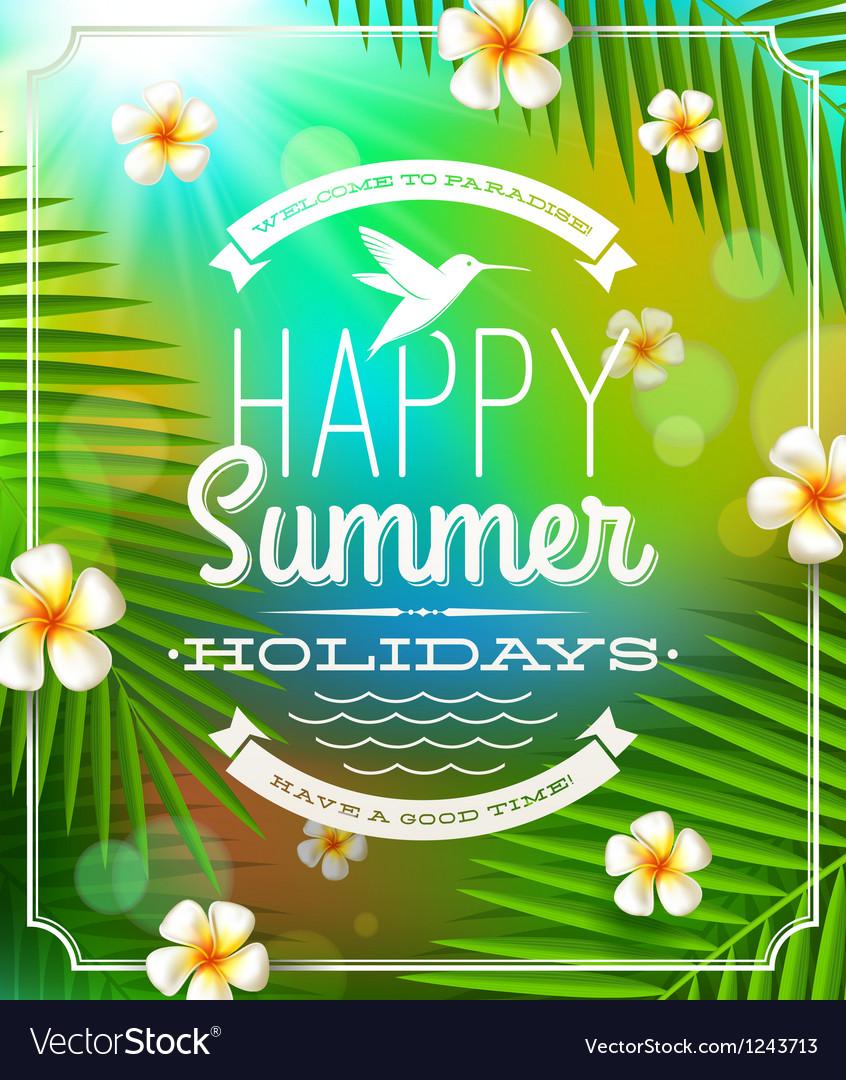 Summer holidays lettering emblem vector | Price: 3 Credit (USD $3)
