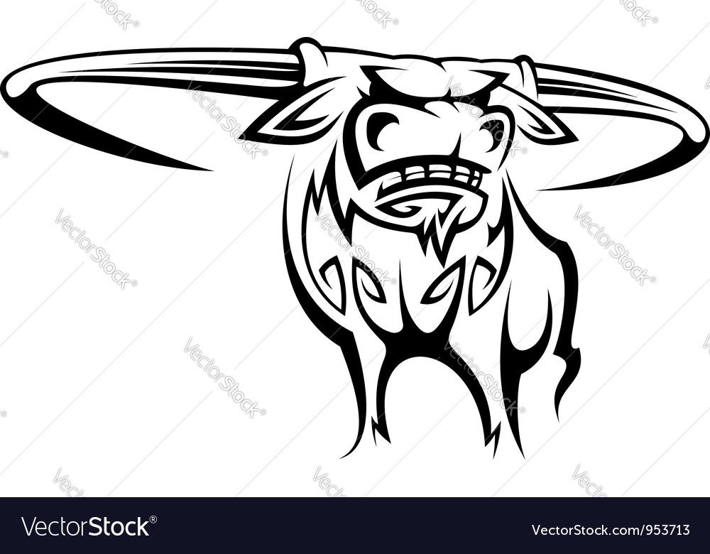 Wild horned buffalo in cartoon style vector | Price: 1 Credit (USD $1)