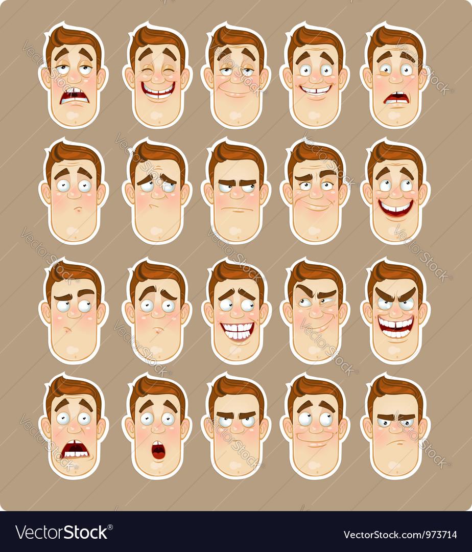 A young man emotions joy sadness hurt shock joy vector | Price: 3 Credit (USD $3)
