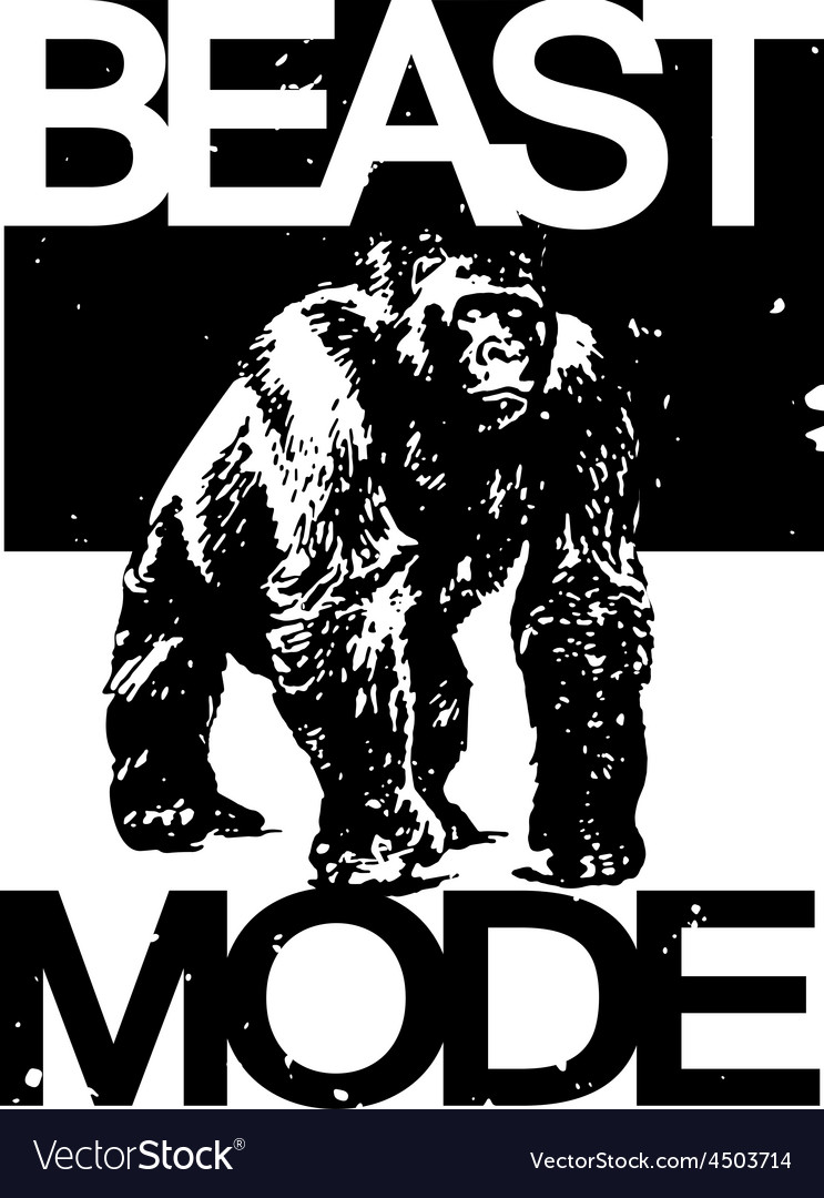 Beast mode big gorilla monkey t-shirt design vector | Price: 1 Credit (USD $1)