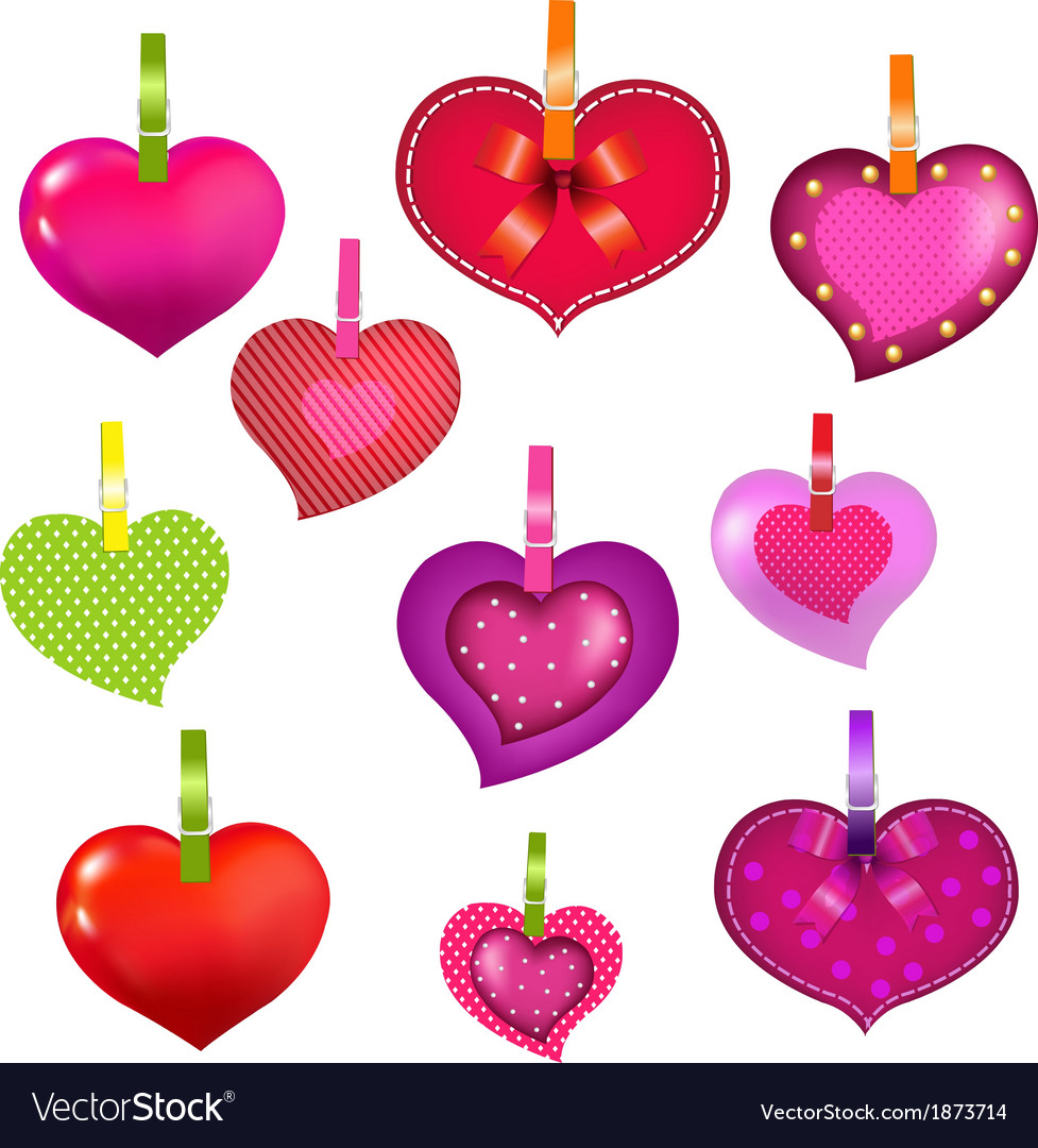 Color hearts with clothespegs vector | Price: 1 Credit (USD $1)
