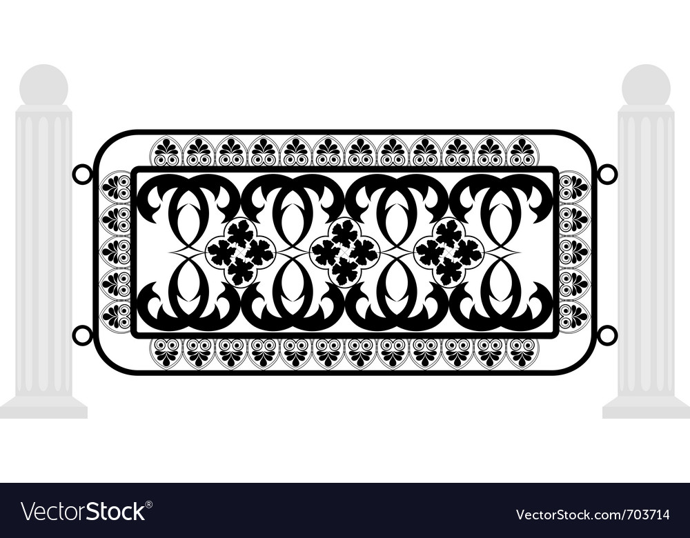 Fence with iron grating vector | Price: 1 Credit (USD $1)