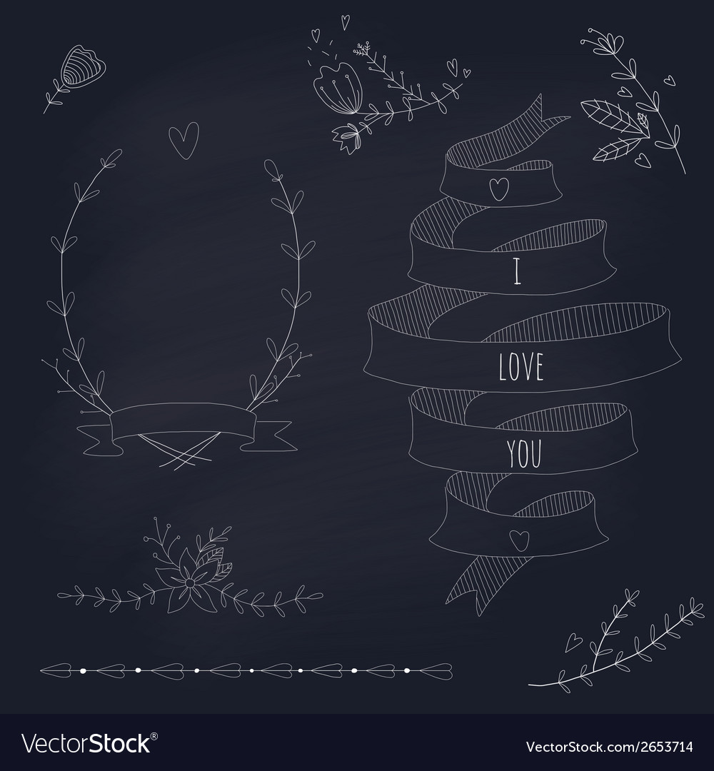 Hand drawn set of wedding design elements vector | Price: 1 Credit (USD $1)