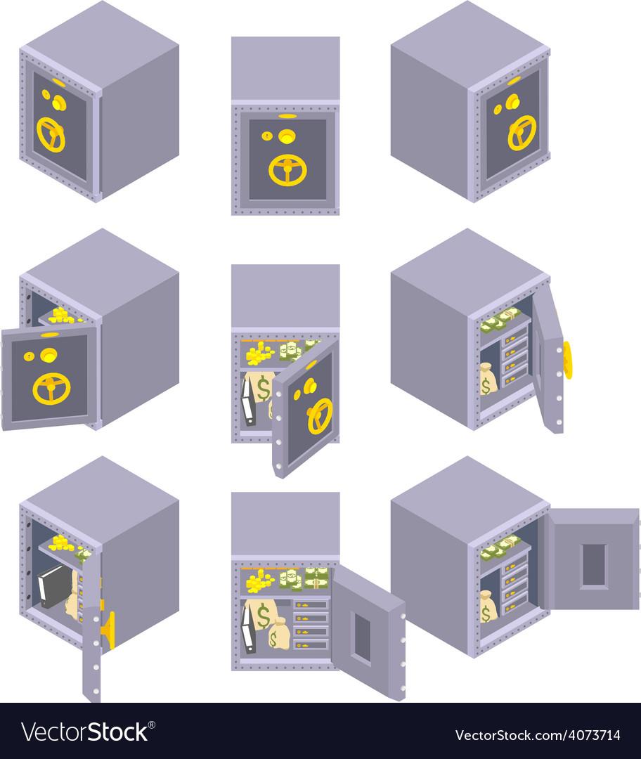 Isometric metal safe storage vector | Price: 1 Credit (USD $1)