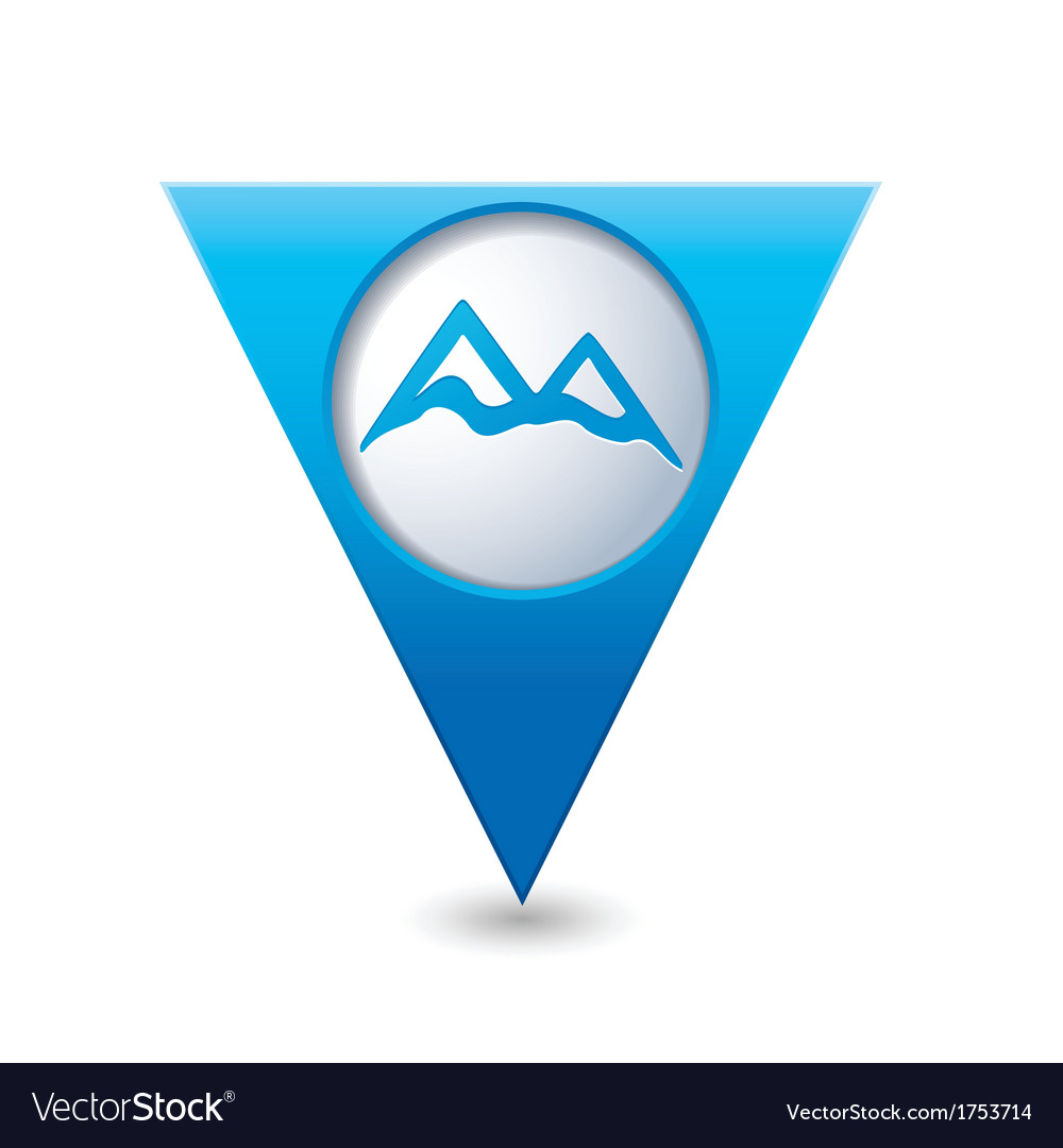 Mountain icon on blue triangular map pointer vector | Price: 1 Credit (USD $1)