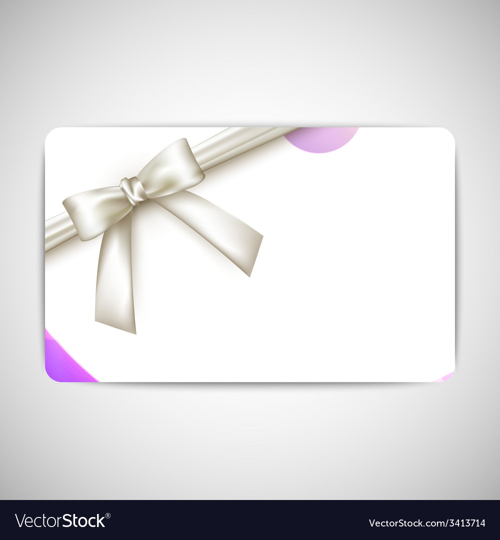 Purple card with white bow and ribbon vector | Price: 1 Credit (USD $1)