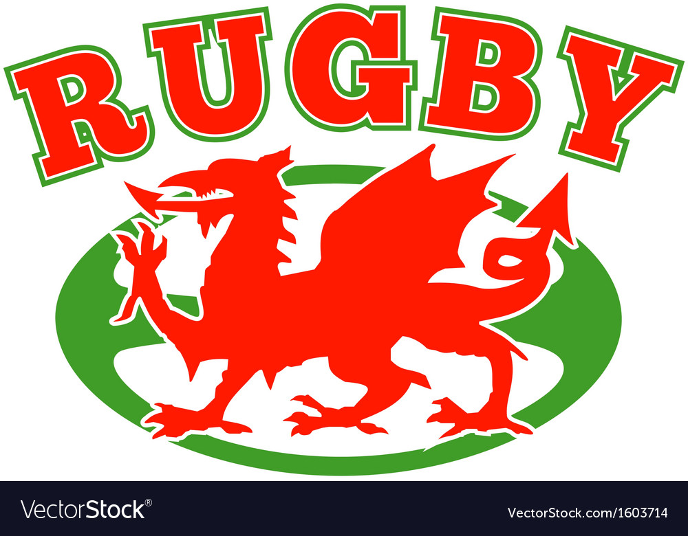 Rugby ball wales red welsh dragon vector | Price: 1 Credit (USD $1)