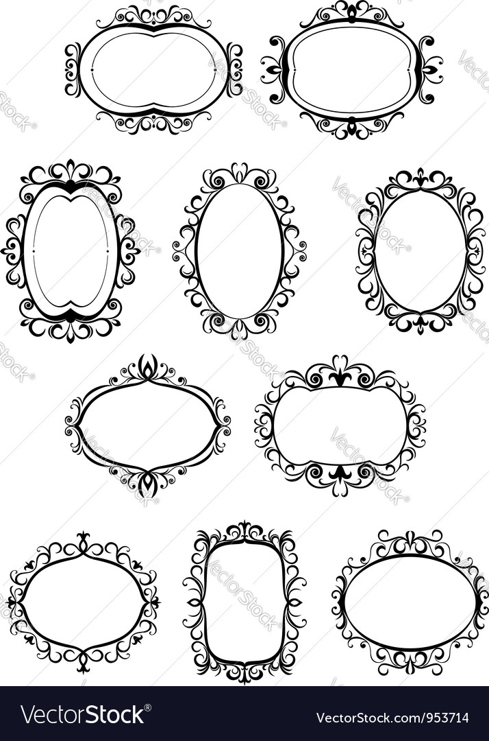 Set of retro frames with embellishments vector | Price: 1 Credit (USD $1)