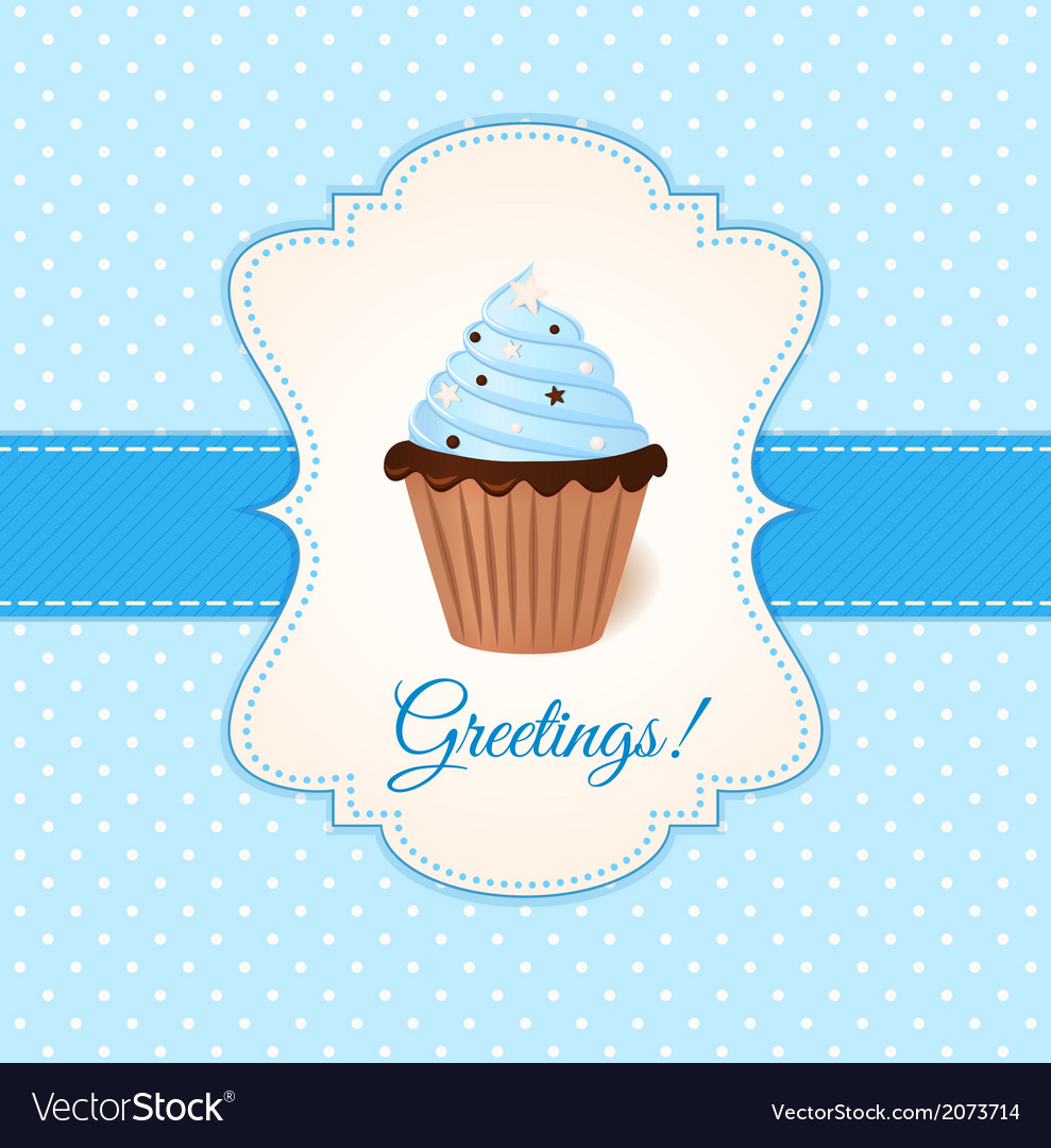 Vintage greetings card with blue cream cake vector | Price: 1 Credit (USD $1)