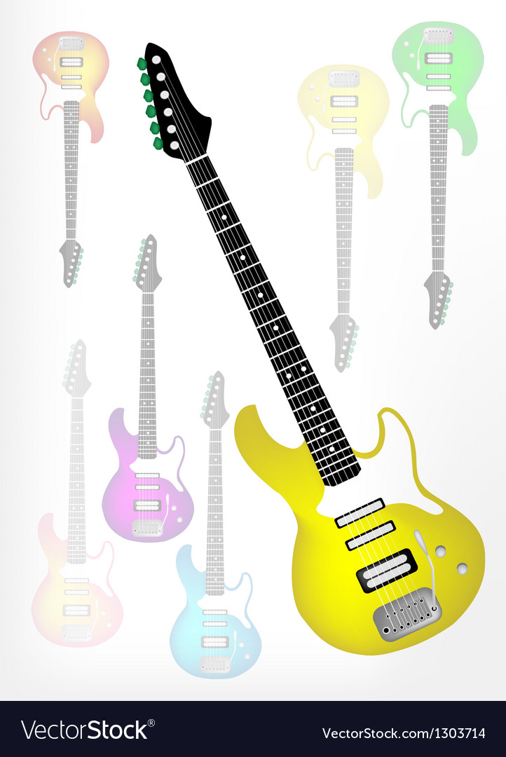 Yellow electric guitar with guitar shadow vector | Price: 1 Credit (USD $1)