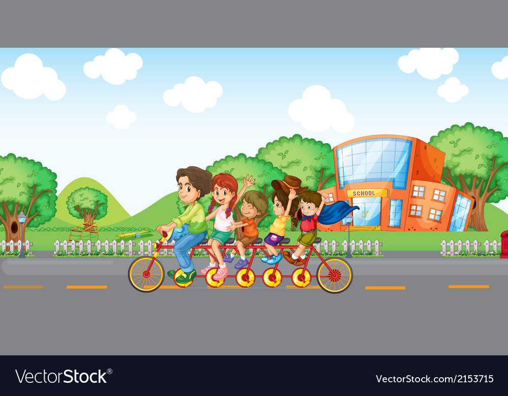 A family travelling with a family bike vector | Price: 3 Credit (USD $3)